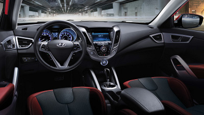 The 2012 Hyundai Veloster interior.