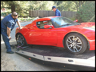 Tesla Roadster Towed