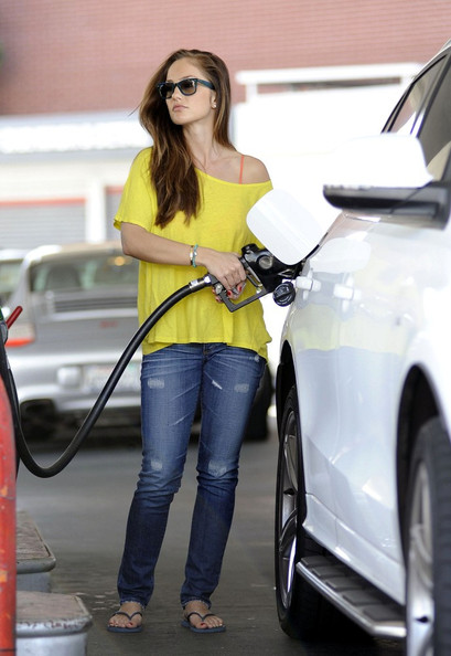 Minka Kelly Pumping Gas Audi Q5