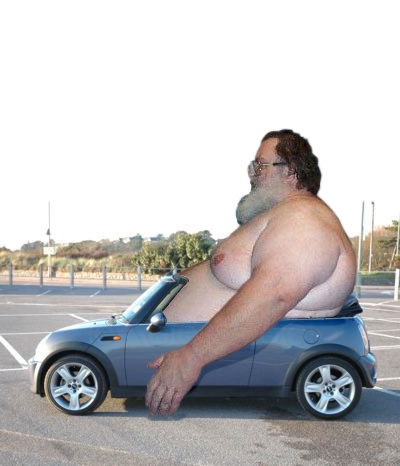 Fat Guy in Mini Cooper picture