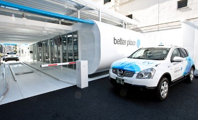 The recently opened Better Place EV battery swapping station